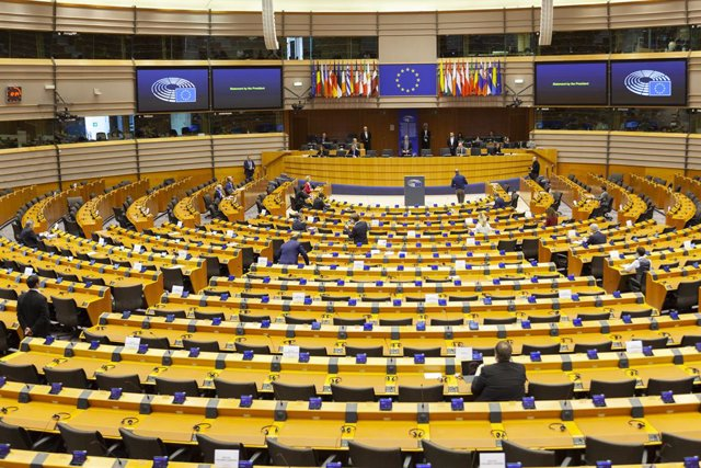 26 March 2020, Belgium, Brussels: A general view of the European Parliament members during a plenary session of the European Parliament to discuss the new developments of the coronavirus (COVID-19) spread across Europe Photo: Nicolas Landemard/Le Pictoriu