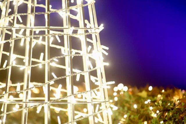 Detalle de la iluminación durante la inauguración de las luces de Navidad.