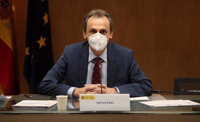 El ministro de Ciencia e Innovación, Pedro Duque, preside el Consejo de Política Científica, Tecnológica y de Innovación, en la sede del Ministerio, en Madrid, (España), a 26 de noviembre de 2020.