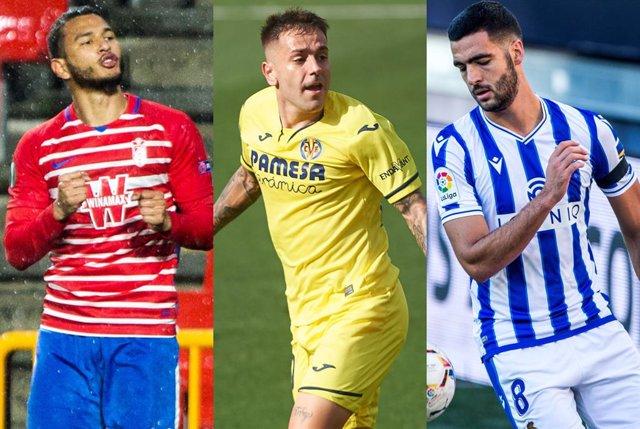 Luis Suárez, del Granada, Rubén Peña del Villarreal y Mikel Merino, de la Real Sociedad