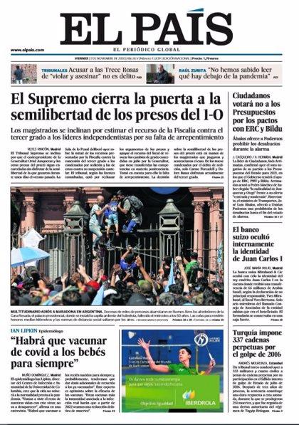 Las portadas de los periódicos del viernes 27 de noviembre