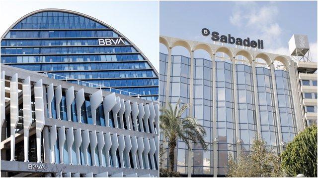 Sedes del Banco BBVA y del Banco Sabadell