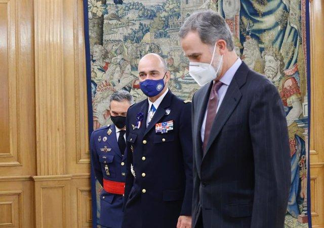 El Rey Felipe VI recibe en audiencia al general André Latana, comandante del Mando Aliado de Transformación (SACT), en el Palacio de La Zarzuela, Madrid (España), a 23 de noviembre de 2020.