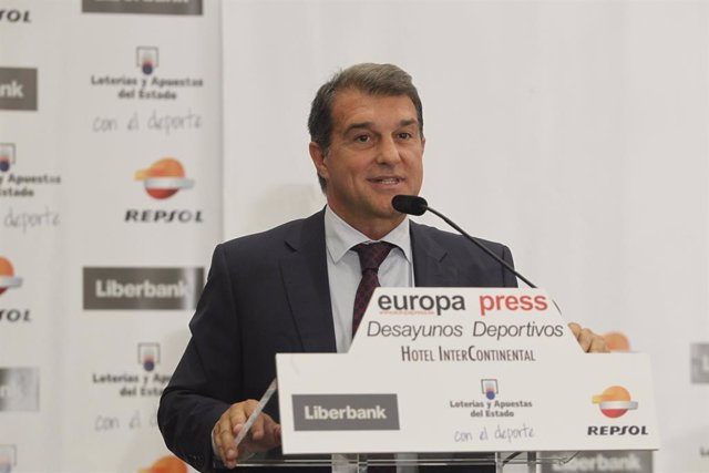 Joan Laporta en los desayunos de Europa Press