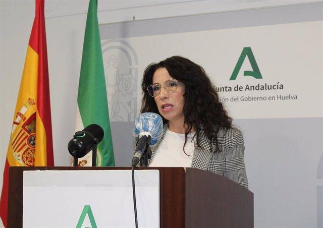 La consejera de Igualdad, Políticas Sociales y Conciliación, Rocío Ruiz, en la presentación en Huelva de los presupuestos de la Comunidad Autónoma para 2021.