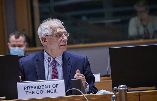 HANDOUT - 19 November 2020, Belgium, Brussels: EU High Representative of the European Union for Foreign Affairs and Security Policy Josep Borrell chairs an EU Foreign Ministers' video conference meeting. Photo: Mario Salerno/European Council/dpa - ATTENTI