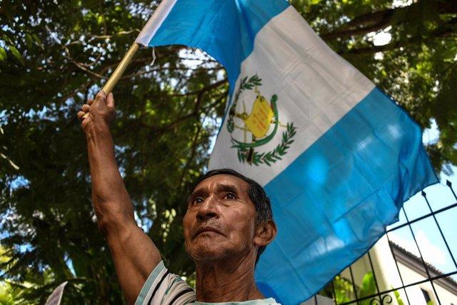 Un manifestante guatemalteco.
