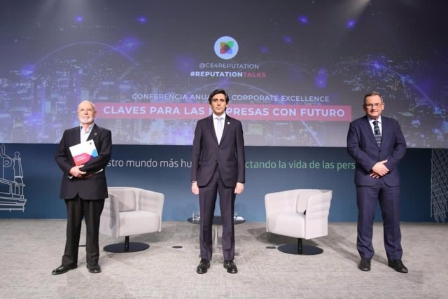 El presidente ejecutivo de Telefónica, José María Álvarez-Pallete, durante su participación en la Conferencia anual de Corporate Excellence.