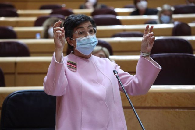La ministra de Asuntos Exteriores, Unión Europea y Cooperación, Arancha González Laya, interviene durante una sesión de control al Gobierno en el Senado, en Madrid (España), a 3 de noviembre de 2020. Durante el pleno de hoy, el Ejecutivo ha respondido a c