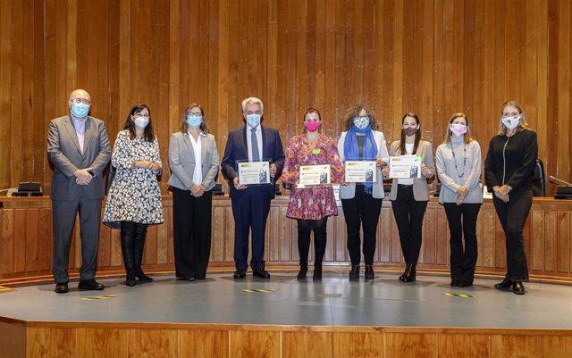 Ceremonia de entrega de los Premios Empresa Flexible 2020 a CEPSA, en la categoría Gran Empresa; Media Interactiva, en la categoría mediana y Santumedé de Jovellanos, en la categoría pequeña empresa.