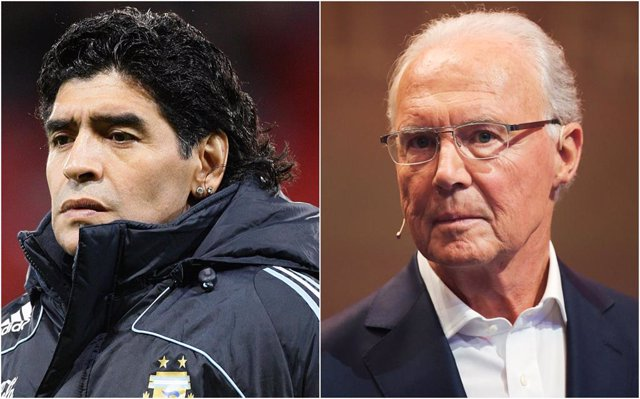 Diego Armando Maradona y Franz Beckenbauer
