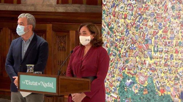 L'alcaldessa de Barcelona, Ada Colau, i el primer tinent d'alcalde, Jaume Collboni, durant la presentació de la Campanya de Nadal 2020.