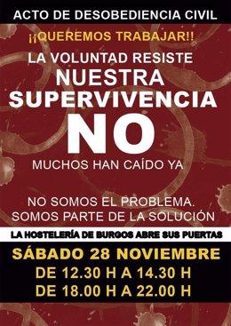 Cartel de protesta contra las restricciones.