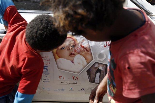 Campaña de vacunación contra la polio en Yemen