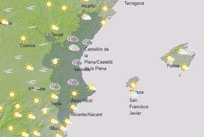 La Comunitat vivirá un domingo con cielos poco nubosos y posibilidad de lluvias débiles a primera hora del día