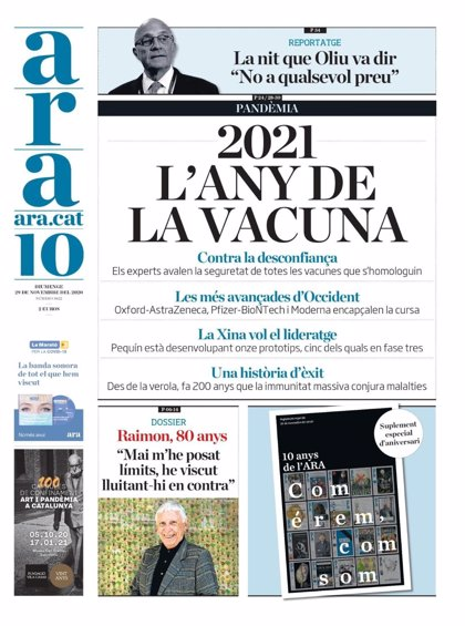 El diario 'Ara' celebra sus primeros 10 años con un suplemento especial