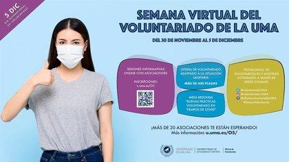 La Universidad de Málaga inicia el lunes la Semana Virtual del Voluntariado, que ofrecerá más de 450 opciones de ayudar