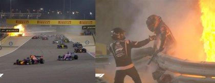 Grosjean solo tiene quemaduras en las manos tras medio minuto entre las llamas