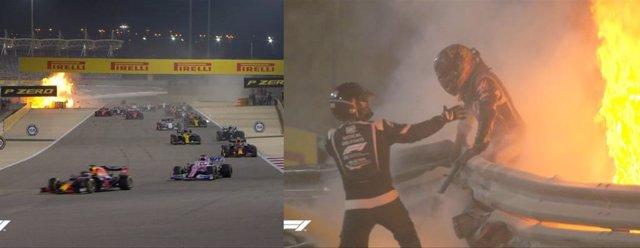 El pilot Romain Grosjean, fora de perill després de sofrir un gravíssim accident al Gran Premi de Bahrain
