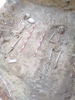 Los restos localizados en el cementerio de Sigüés