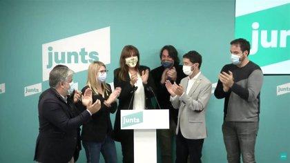 Carles Puigdemont felicita a Borràs y agradece a Calvet su campaña de primarias de JxCat