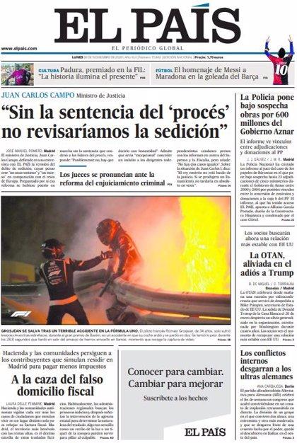 Las portadas de los periódicos del lunes 30 de noviembre