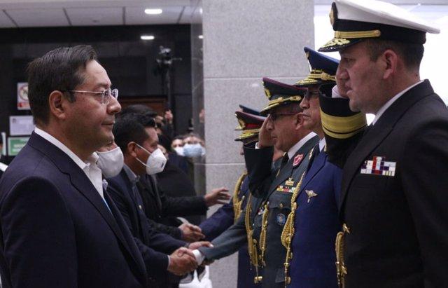 El presidente de Bolivia, Luis Arce, durante la última ceremonia de confirmación de los nuevos altos cargos militares.