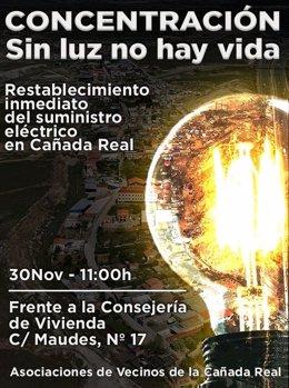 Convocatoria de concentración por los cortes de Luz en la Cañada Real Galiana
