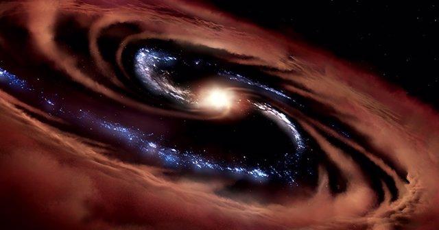 Ilustración de la galaxia llamada CQ4479. El agujero negro extremadamente activo en el centro de la galaxia está consumiendo material tan rápido que el material brilla a medida que gira hacia el centro del agujero negro, formando un quásar luminoso.