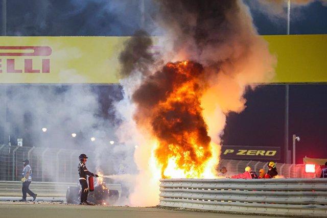 Crash of GROSJEAN Romain (fra), Haas F1 Team VF-20 Ferrari, fire during the Formula 1 Gulf Air Bahrain Grand Prix 2020, from November 27 to 29, 2020 on the Bahrain International Circuit, in Sakhir, Bahrain - Photo DPPI