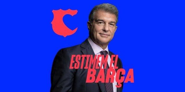 L'expresident del FC Barcelona Joan Laporta presenta la campanya 'Estimem el Barça'.