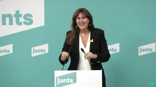 Laura Borràs en una roda de premsa telemàtica després de guanyar les primàries de JxCat a les eleccions catalanes