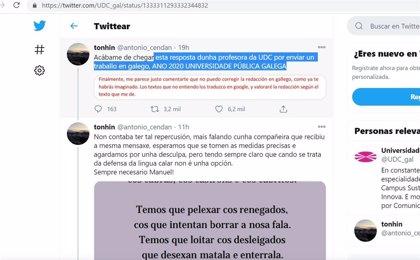 Un alumno denuncia en redes sociales la queja trasladada por una docente de la UDC por un trabajo en gallego