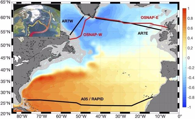 Mapa del Océano Atlántico Norte. Las secciones hidrográficas y las observaciones de la matriz están marcadas con líneas negras y rojas.