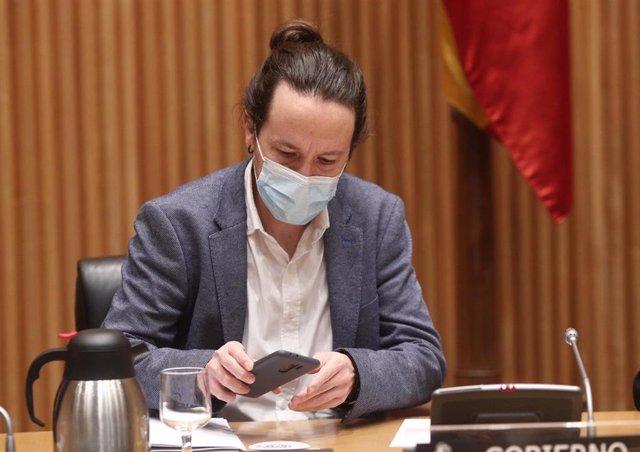 El vicepresidente segundo y líder de Unidas Podemos, Pablo Iglesias, preside la Comisión Mixta para la Coordinación y Seguimiento de la Estrategia Española para alcanzar los Objetivos de Desarrollo Sostenible, en Madrid, (España), a 26 de noviembre de 202