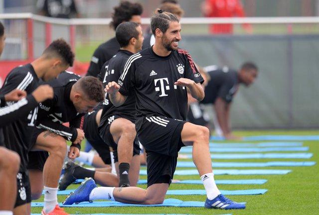 Javi Martínez entrenando con el Bayern