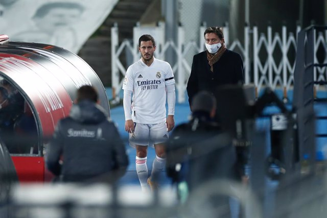 Eden Hazard of Real Madrid injured during the spanish league, La Liga Santander, football match played between Real Madrid and Deportivo Alaves at Alfredo Di Stefano stadium on november 28, 2020, in Valdebebas, Madrid, Spain