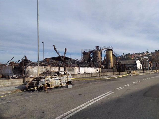 La planta Derpin de l'empresa Ditecsa després de l'incendi de l'11 de desembre del 2019 en un polígon de Montornès del Vallès.