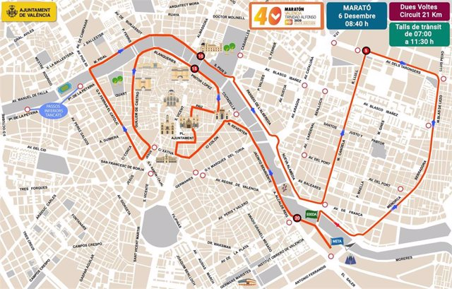 Cortes por la maratón Valencia