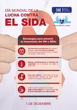 SAE difunde un cartel para recordar las medidas de protección a los profesionales sanitarios frente al VIH/sida