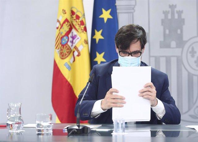 El ministro de Sanidad, Salvador Illa, comparece en rueda de prensa para actualizar información sobre la estrategia de vacunación, en Moncloa, Madrid (España), a 27 de noviembre de 2020.
