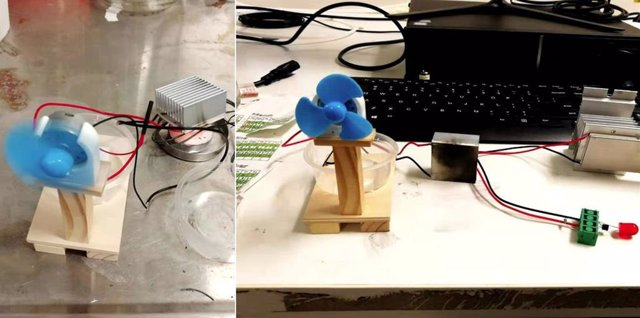Demostración de material termoeléctrico alimentando un pequeño ventilador