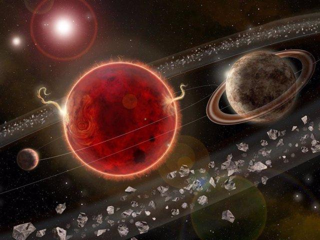 Recreación del sistema planetario en Próxima Centauri