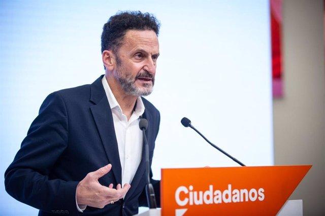 El portaveu adjunt de Ciutadans al Congrés dels Diputats, Edmundo Bal, en una roda de premsa a la seu del partit.