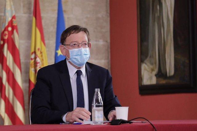 Ximo Puig en una videoconferència