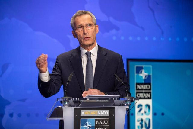 HANDOUT - 30 November 2020, Belgium, Brussels: NATO Secretary-General Jens Stoltenberg speaks during an online pre-ministerial press conference ahead of the meetings of NATO Ministers of Foreign Affairs on the first and the second of December. Photo: -/NA