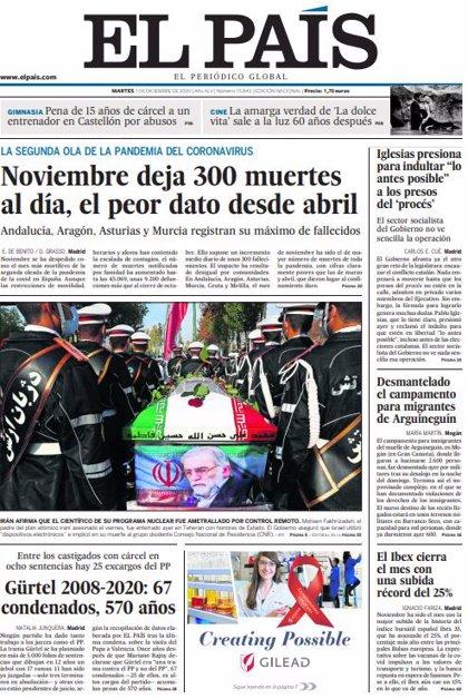 Las portadas de los periódicos del martes 1 de diciembre