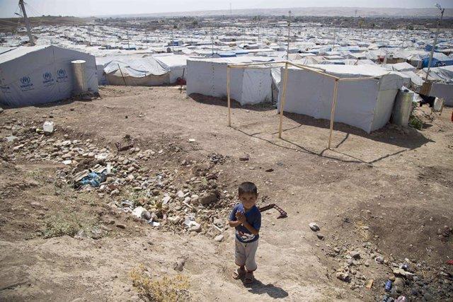 Imagen de archivo de un campo de desplazados internos en Irak.