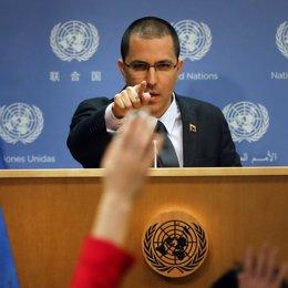 Jorge Arreaza durante una rueda de prensa en la ONU