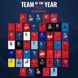 Lista de nominados al Equipo del Año
